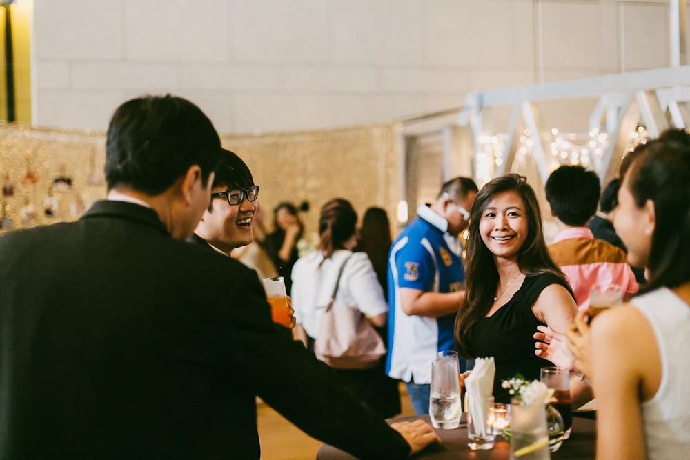 Guests mingling at Fullerton Bay Hotel Wedding