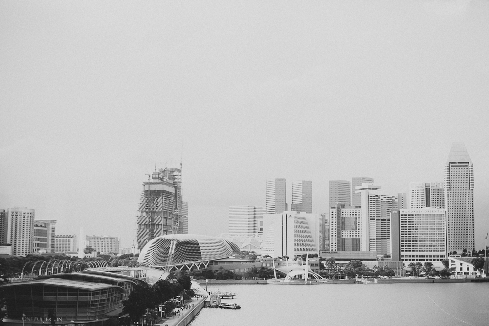 Scenic view of Singapore city skyline from Fullerton Bay Hotel