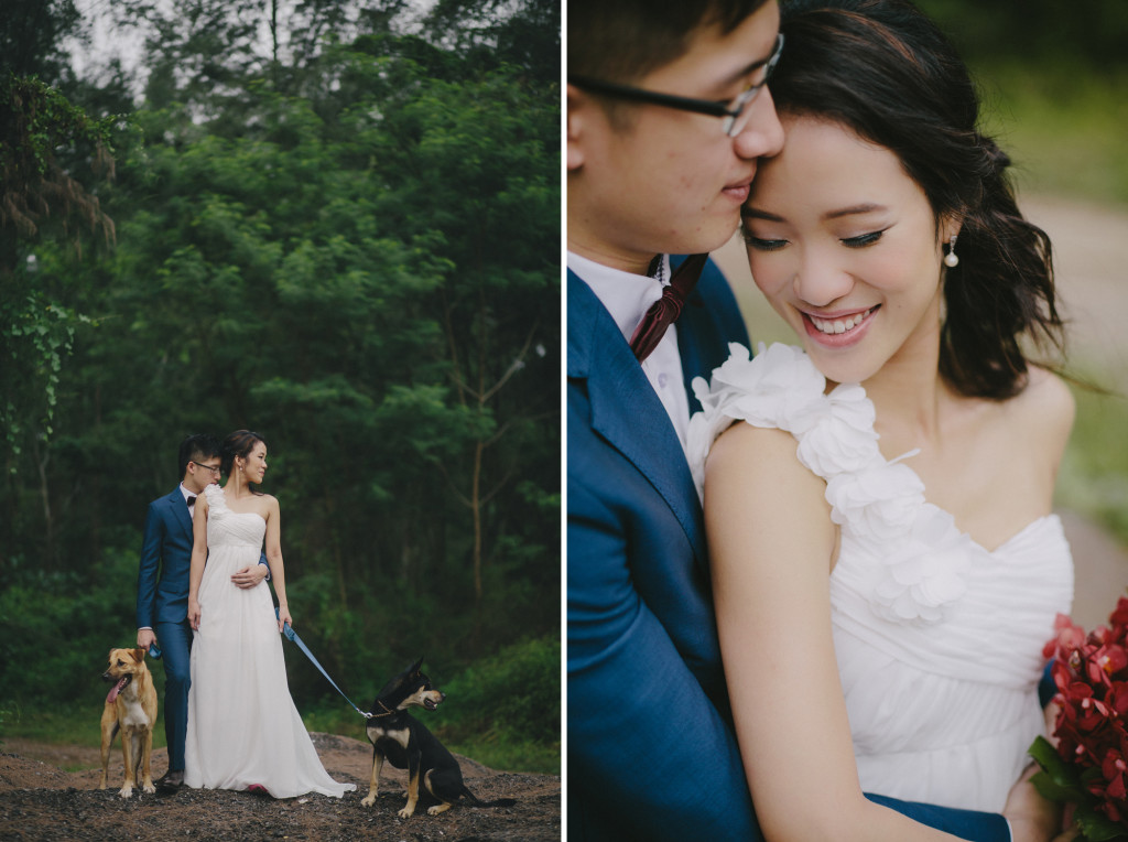 Prewedding photography with dogs in Singapore